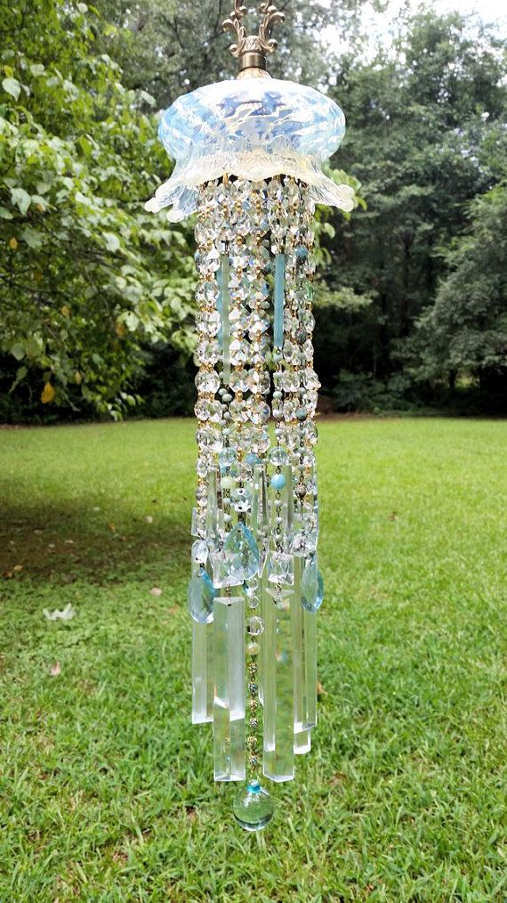 Antique Opalescent Crystal Wind Chime Pastel by sheriscrystals