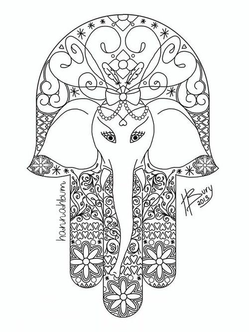 Elephant Hamsa Tattoo Design