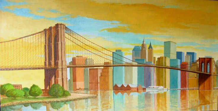 """Brooklyn Bridge"" płótno, olej 107 x 55 cm. 2015 r."