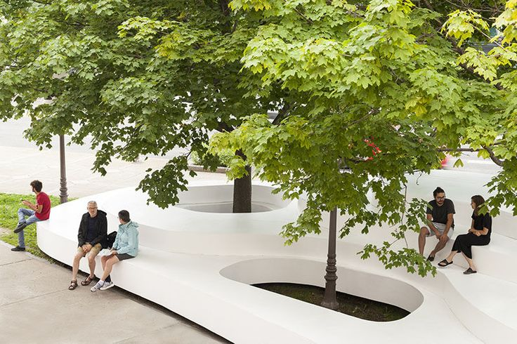This Public Seating Installation Was Inspired By Snowbanks That Gather Around Trees And Street Lights | CONTEMPORIST