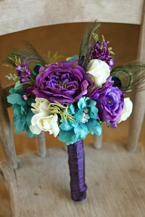 Plum and Teal Jeweled Peacock Wedding Bouquet