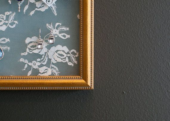 Gold Frame and Lace Earring Holder