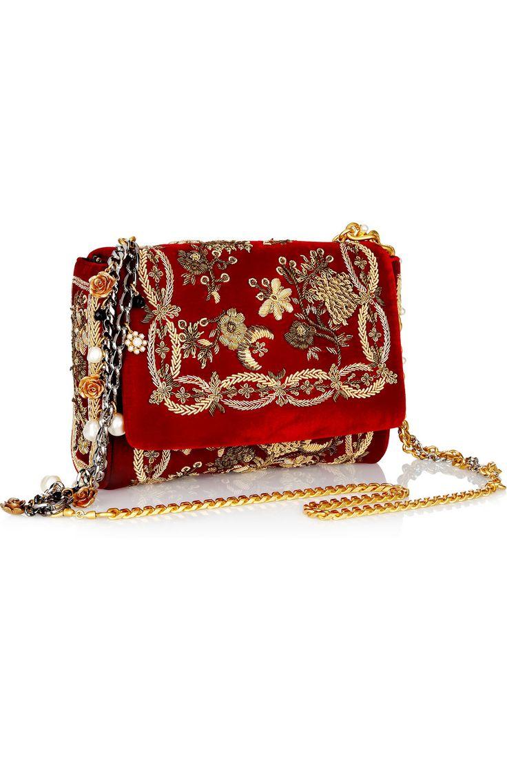 Dolce & Gabbana Miss Charles embroidered velvet shoulder bag