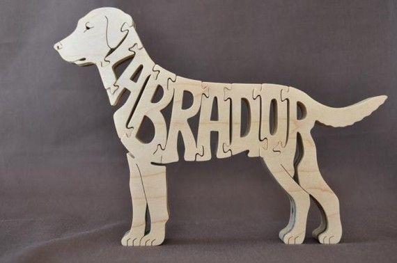 Labrador Dog Puzzle madera juguete mano corte con Sierra de marquetería
