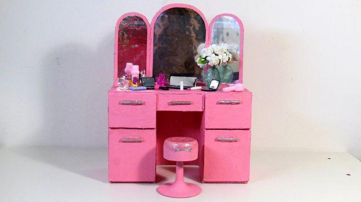 Como Fazer Penteadeira Retrô dos Sonhos para Barbie e Outras Bonecas Usa...