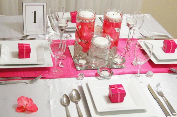 Pink quince decor centerpiece quinceañera