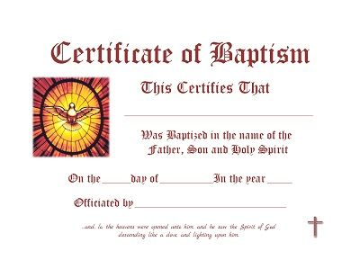 Baptism Certificate - Free Template | Prayers, Quotes ...