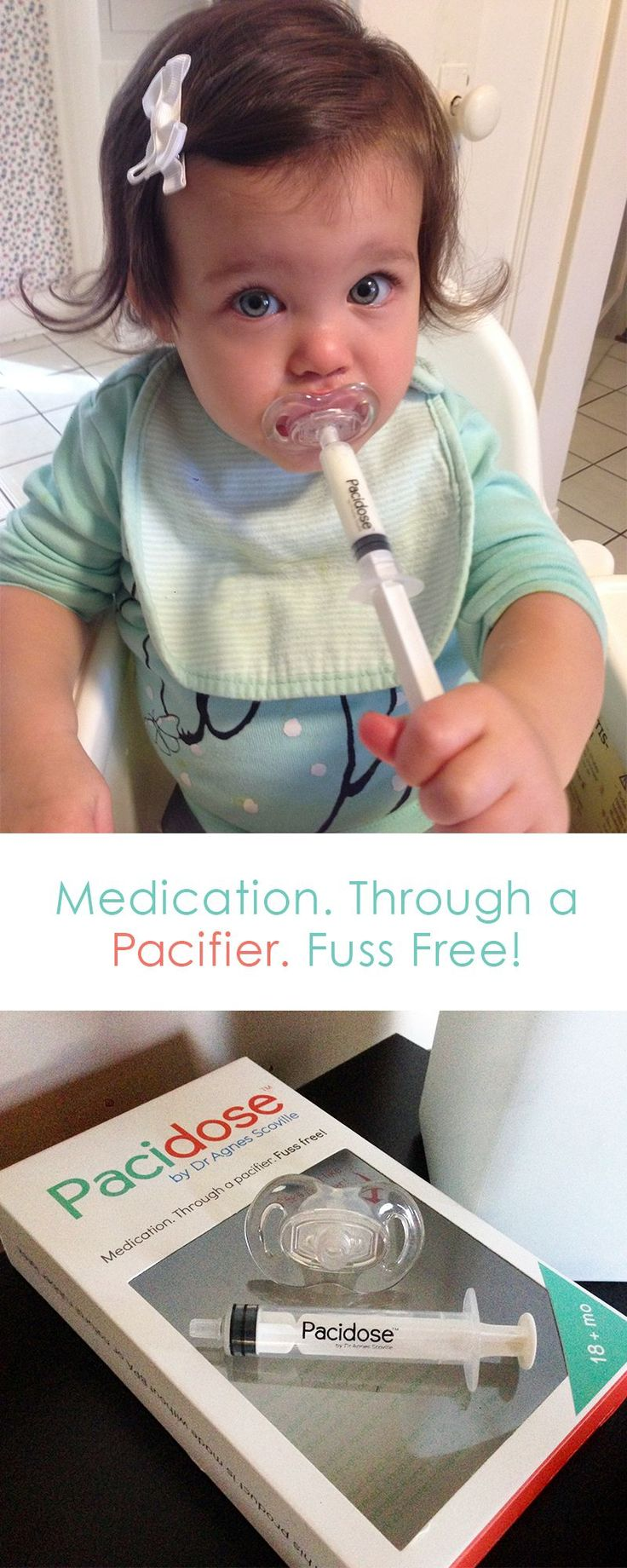 Pacidose looks and feels just like a pacifier and prevents wasted medicine, all while keeping your baby healthy.