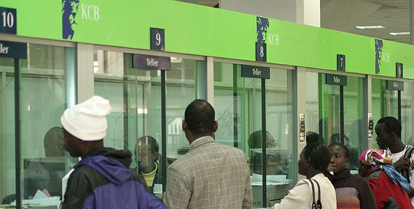 Customers at a KCB banking hall in Nairobi. The bank said it had lent out Sh6.3 billion in three weeks. PHOTO   FILE