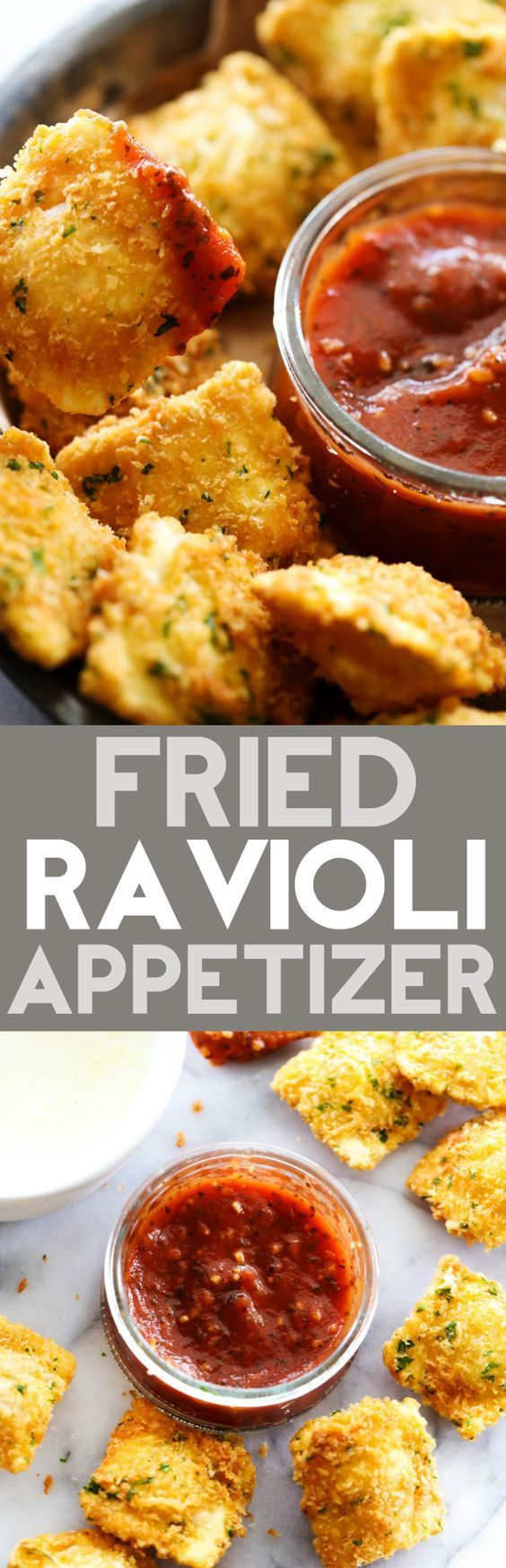 This Fried Ravioli Appetizer is out of this world! Crispy golden ravioli seasoned to perfection! Dip in marinara and Alfredo and you have one out of this world appetizer!