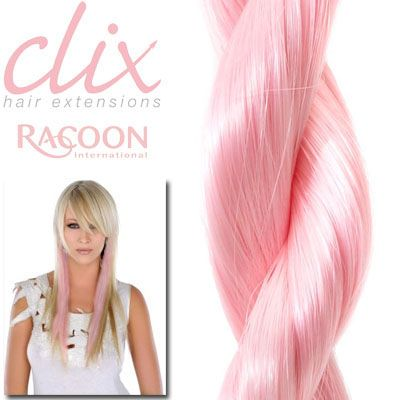 Clip in hair extensions in pink!!