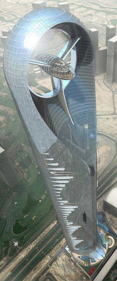 Anara Tower, Dubai, UAE by Atkins Design Studio :: 125 floors, height 655 m :: never built
