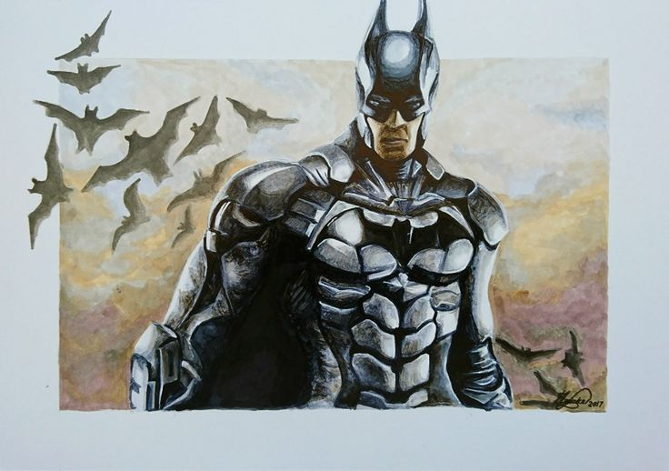 Batman Emerging.  Copic Markers on Marker Paper 11cm x 17cm  Artist: Talia Naicker  #art #Batman #batmanarkhamnight #Bat #fanart #copicmarkers