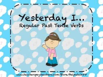 """Regular Past Tense Verbs flashcards. Includes text such as, """"Today I love. Yesterday I ______,"""" as well as a graphic to go with each verb card."""