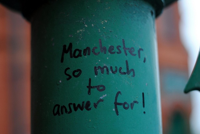 Manchester, so much to answer for! by zawtowers, via Flickr  Graffiti outside Salford Lads Club