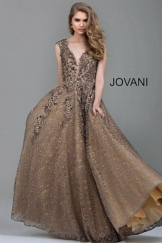 dbc3e9ad9e Taupe Embroidered Lace A-Line Evening Gown 55877  LongFormalDress  Jovani   FormalGown