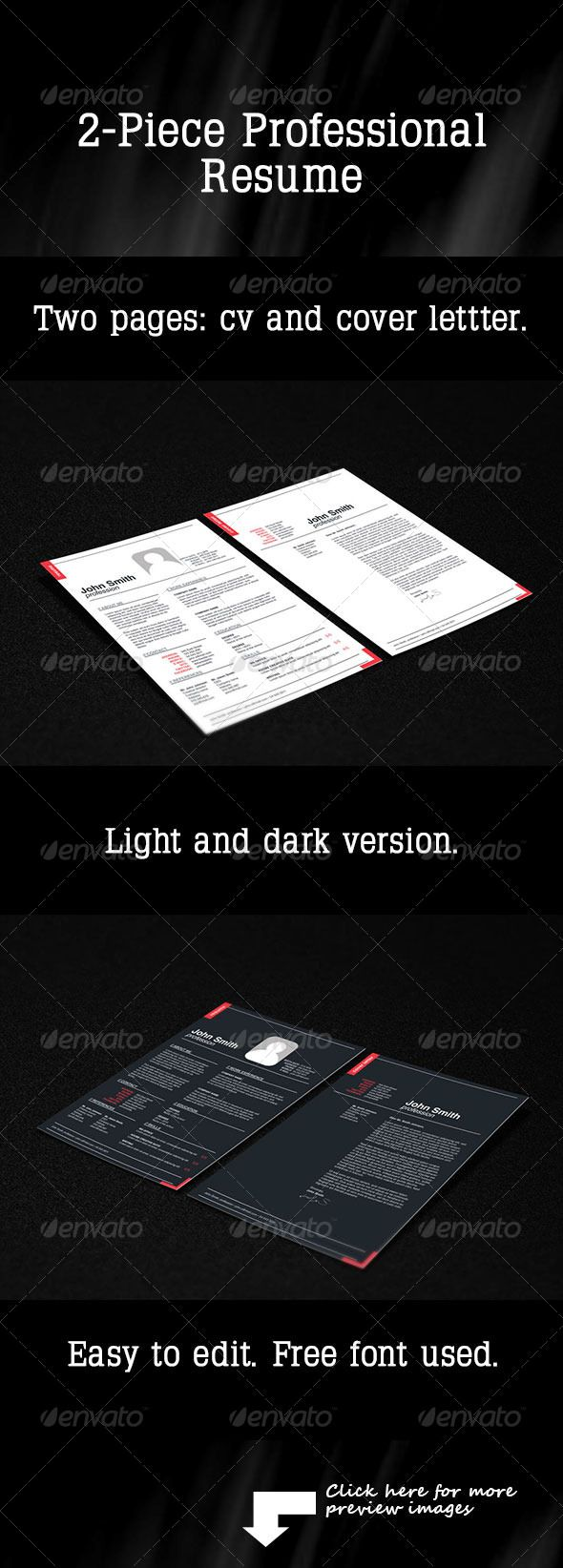2 Piece Professional Resume 103 best Print Templates