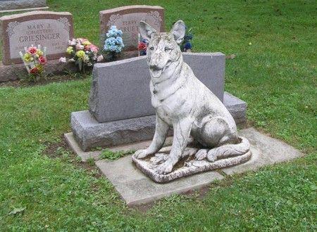 German Shephard statue -Riverside Cemetery Maumee, Ohio