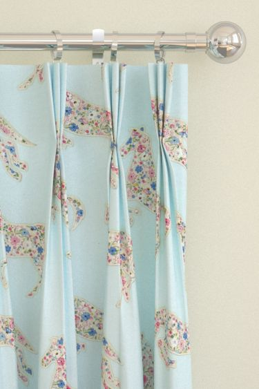 Pretty Ponies  Chintz/ Blue Pencil Pleat Curtains by Sanderson. Gallup away! Appliqué ponies using the Posy Floral design creating a pretty fabric design shown here in the chintz/ blue colourway. Other colourways are available. Please request sample for true colour and texture match.