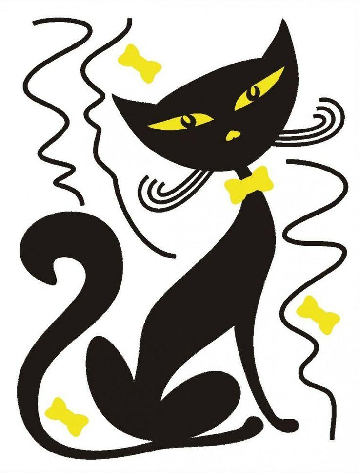 A 1950s style design: stylized black cat.
