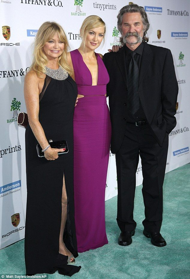 Family affair: Goldie attended the formal event with Kate's stepfather actor Kurt Russell, 63