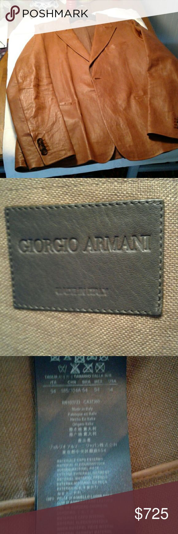 Giorgio Armani Leather Jacket Soft leather,  color called cognac, in excellent condition Giorgio Armani Leather Jacket Jackets & Coats Lightweight & Shirt Jackets