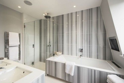 Bathroom Pictures with Gray and White Striping Tiles