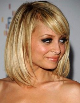 Nicole Richie wears a long bob hair style that is jagged cut at the ends - Bob Hairstyles 2013 - Bob Hair Styles