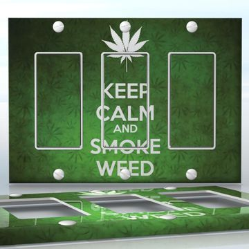 DIY Do It Yourself Home Decor - Easy to apply wall plate wraps   KEEP CALM AND SMOKE WEED  Green weed background with a white leaf  wallplate skin sticker for 3 Gang Decora LightSwitch   On SALE now only $5.95
