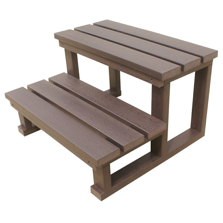 Spa World Two-Tier Steps Chocolate, durable synthetic construction, without the hassle of wooden steps. http://spastore.com.au/two-tier-spa-steps-chocolate-color/ #pool #spa #spapool #swimspa