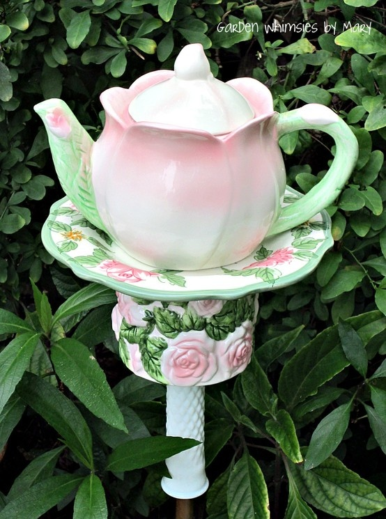 Roses teapot garden stake by Garden Whimsies by Mary