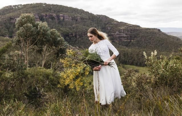White Magazine shoot. Owl wedding set in the Blue Mountains.Silversalt-Photography . Weddings by Tania-Hair & Makeup . Lost in Paris Bridal- dress. Floral Ink- Floral Designs