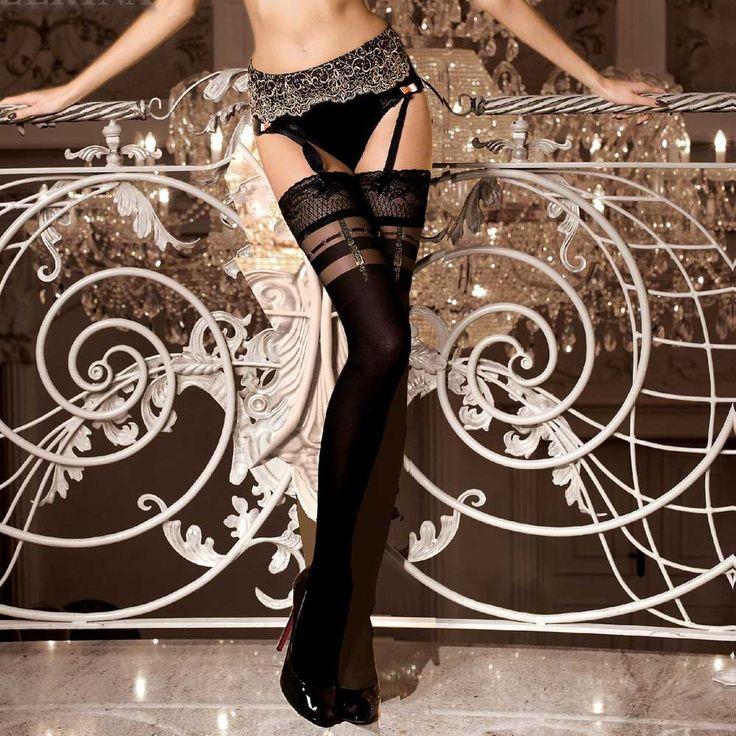 Ballerina Hosiery Edana stay-ups kousen met riem detail zwart | Attitu
