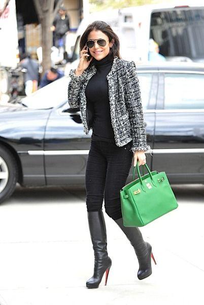 Bethenny Frankel, black jeans, black turtle neck, black Louboutin boots, boucle jacket, green bag ☑️
