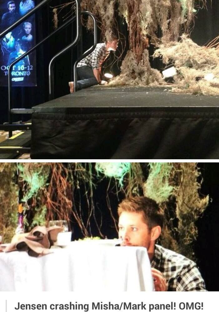 Jensen crashing Misha and Mark's panel :)