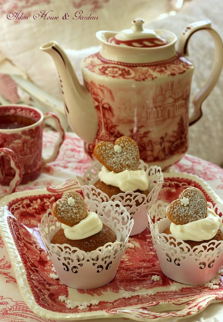 Aiken House & Gardens: Red Transferware Have the muffin/cupcake lacy holders already. Could work with red or pink color scheme