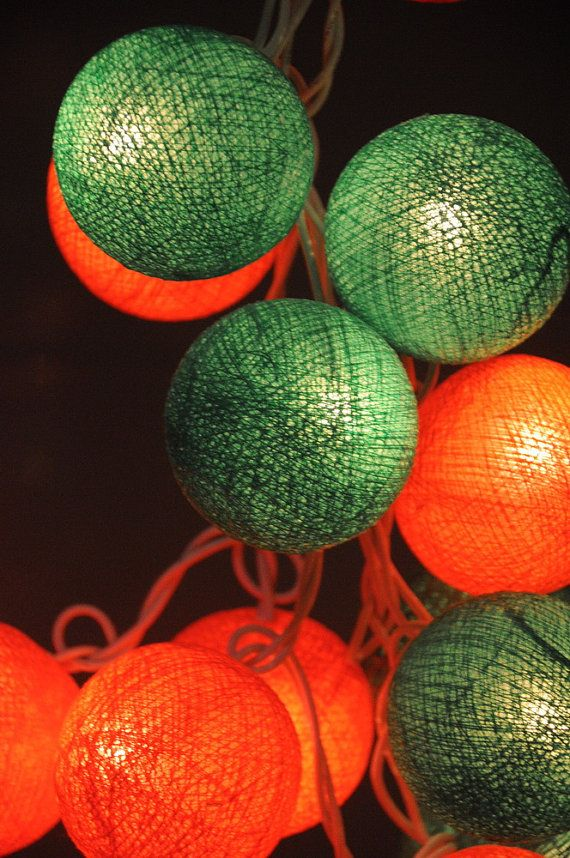 20 x orange green reggae cotton ball Bali string light patio outdoor decoration deco room bedroom wedding patio party function light