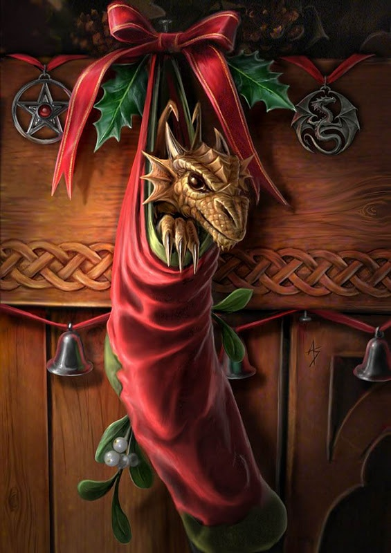 A dragon is for life, not just for Hogswatch! Original painting by Anne Stokes. I think my Hero and I would both love to wake up to such a cute little one holiday morning. :)