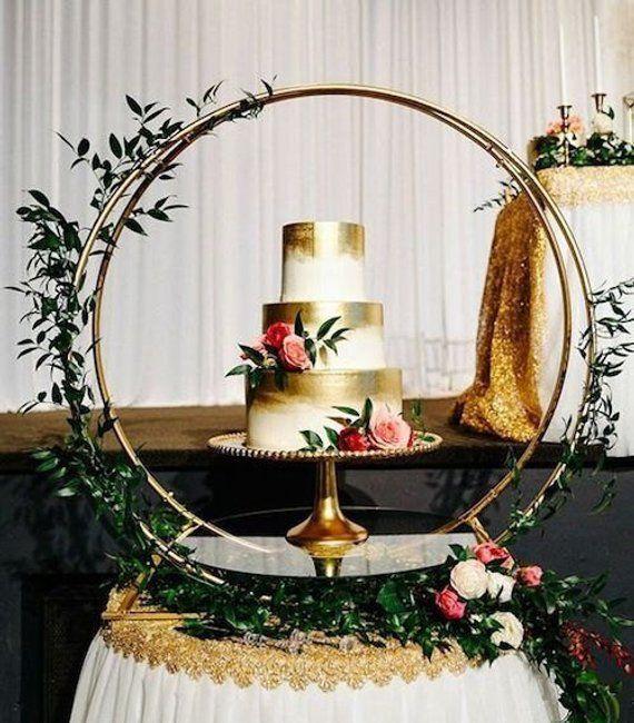 Cake Stand/ Wedding Decor/ Metal Round Stand/ Glass panel/ Metal panel