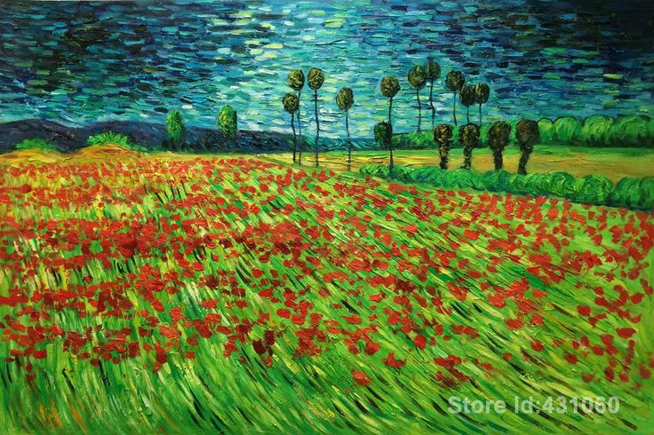 Vincent Van Gogh art Field of Poppies Van Gogh Reproduction Oil on Canvas High quality Handmade