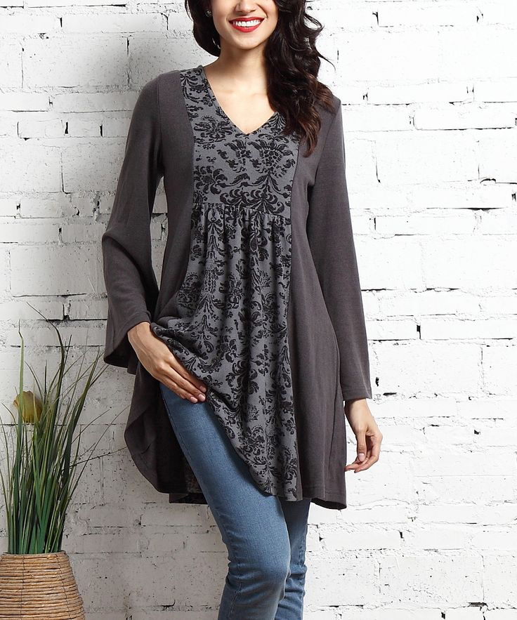Charcoal Damask-Panel V-Neck Tunic Dress
