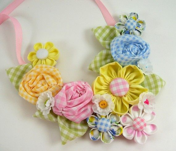 Fabric Flower Bib Necklace 2 PDF Tutorial ... NEW ... Includes 3 flower tutorials