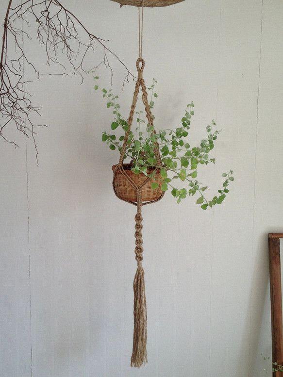 麻ひもをつかいマクラメ技法による手編みのプラントハンガーです。 鉢に入れた植物などを吊るしたりします。|ハンドメイド、手作り、手仕事品の通販・販売・購入ならCreema。
