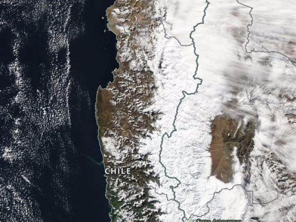 """Región Coquimbo, """"un manto blanco"""", imagen satelital de la cordillera"""