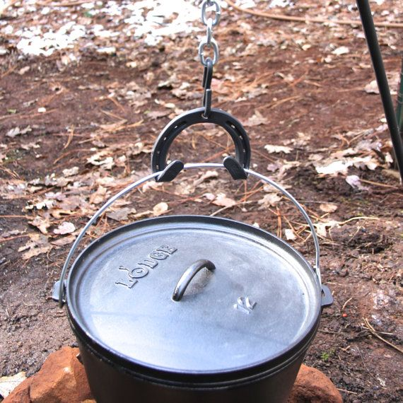 Campfire Tripod hook, double hooked for dutch oven bales / handles, incl. strong S hook