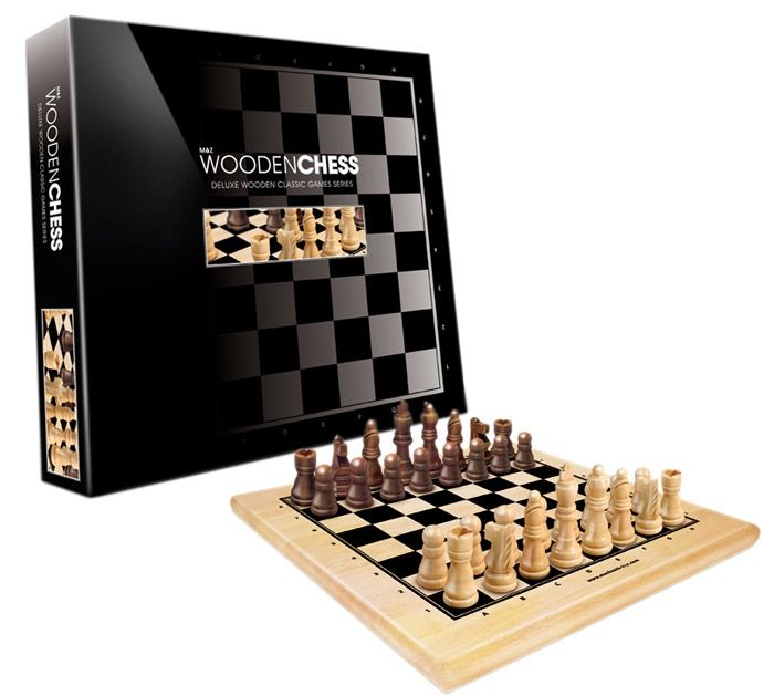 A wooden chess set for family games or battles of brilliance.