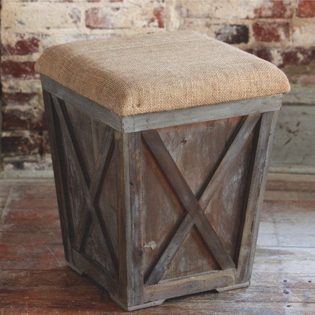 Country Stool with Burlap Cushion