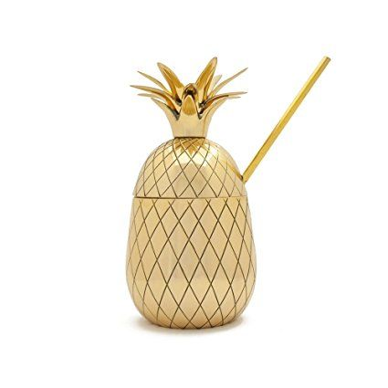 The Pineapple Co 16 Oz. Large Pineapple Tumbler by W&P Design, Gold, Three-Piece Brass Cocktail Cup With Lid And Gold Metal Straw