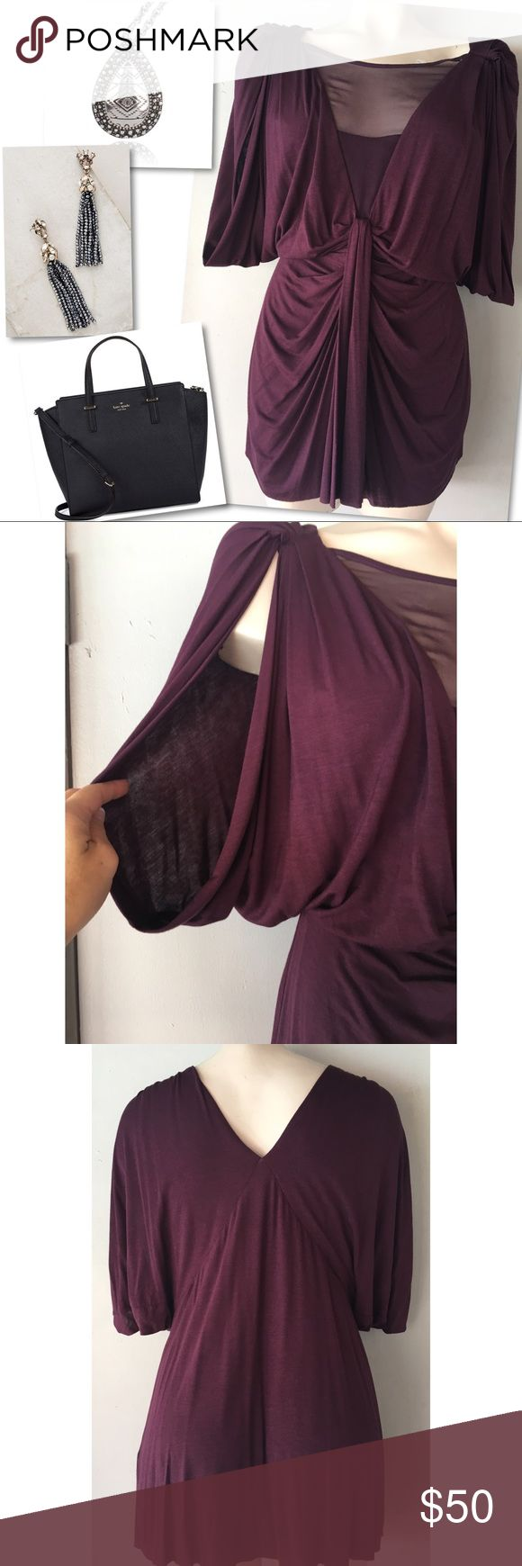 """ANTHROPOLOGIE BAILEY 44 PURPLE DRAPED TOP BLOUSE L ANTHROPOLOGIE BAILEY 44 PURPLE DRAPED TOP BLOUSE L - 38-44"""" BUST 39"""" LENGTH - SELF: 94% RAYON 6% SPANDEX, CONTRAST: 100% SILK Bailey 44 Tops Blouses"""