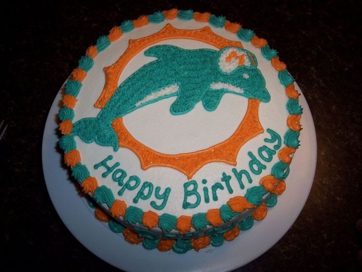"""Miami Dolphins Cake Made for my husbands 32nd birthday. He said and I quote, """" Only I would want a cake of the worst football team in..."""
